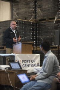 Port of Centralia Executive Director Kyle Heaton speaks at the port's 30th anniversary celebration on Thursday evening at Dick's Brewery in Centralia.