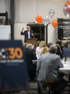 Former director of the Lewis County Economic Development Council, Dick Larman, speaks during the Port of Centralia's 30th anniversary celebration on Thursday evening at Dick's Brewery in Centralia.