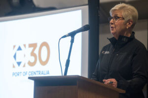 Port of Centralia Commissioner Julie Shaffley speaks during the port's 30th anniversary celebration on Thursday evening at Dick's Brewery in Centralia.