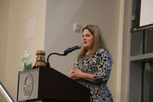 Centralia-Chehalis Chamber of Commerce Executive Director Alicia Bull addresses those in attendance at the annual chamber banquet at the TransAlta Commons on Friday evening.