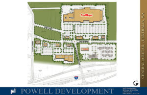 An updated site plan of Centralia Station with Fred Meyer as its anchor tenant is pictured above.