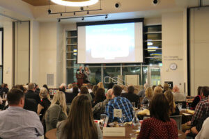 Centralia-Chehalis Chamber of Commerce President Todd Chaput and Executive Director Alicia Bull addresses the crowd at the 2018 chamber banquet at the TransAlta Commons building on Friday evening.