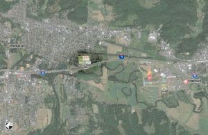 Centralia Station is included in this aerial photo of Centralia and Chehalis.